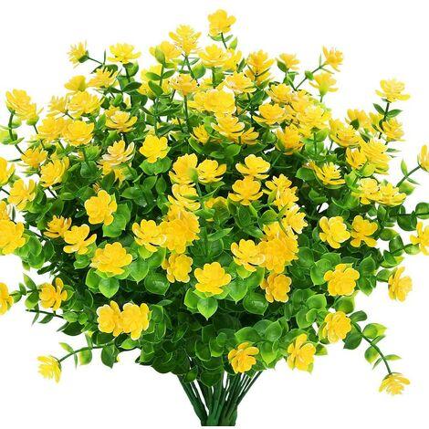 LangRay Flores artificiales falsas para exteriores, vegetación de plástico sintético para macetas colgantes para interiores y exteriores, hogar, oficina, boda, granja, decoración, 8 piezas, amarillo