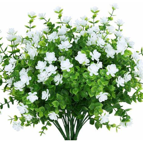 LangRay Flores artificiales falsas para exteriores, vegetación de plástico sintético para macetas colgantes para interiores y exteriores, hogar, oficina, boda, granja, decoración, 8 piezas, color blanco