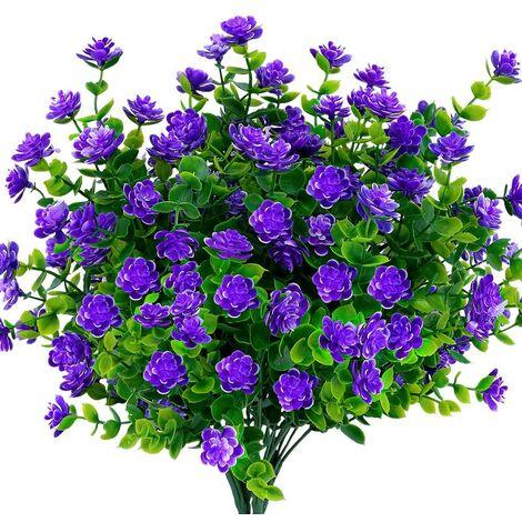 LangRay Flores artificiales falsas para exteriores, vegetación de plástico sintético para macetas colgantes para interiores y exteriores, hogar, oficina, bodas, granjas, decoración, 24 piezas, morado