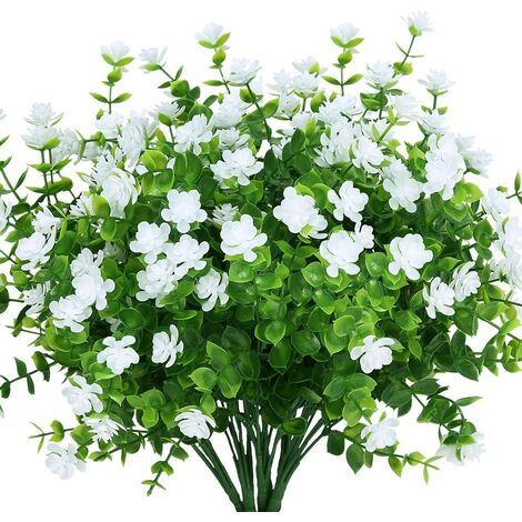 LangRay Flores artificiales falsas para exteriores, vegetación falsa de plástico para macetas colgantes para interiores y exteriores, hogar, oficina, bodas, granja, decoración, 24 piezas, color blanco