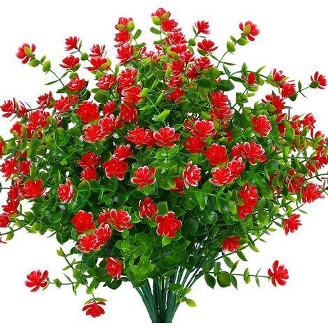 LangRay Flores artificiales falsas para exteriores, verde de plástico sintético para macetas colgantes de interior al aire libre, oficina en casa, boda, granja, decoración, 12 piezas, rojo