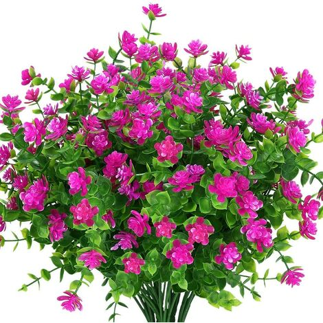 LangRay Flores artificiales para exteriores, plantas de plástico sintético para macetas colgantes para interiores y exteriores, hogar, oficina, boda, granja, decoración, 8 piezas de loto rojo
