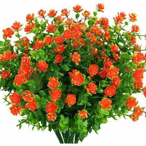 LangRay Flores artificiales para exteriores, plantas verdes de plástico sintético para macetas colgantes para interiores y exteriores, hogar, oficina, boda, granja, decoración, 8 piezas, rojo atardecer