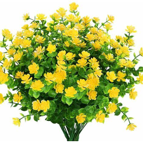 LangRay Flores artificiales para exteriores, verde de plástico sintético para macetas colgantes para interiores y exteriores, hogar, oficina, boda, granja, decoración, 24 piezas, amarillo