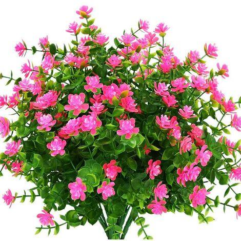 LangRay Flores artificiales para exteriores, verde de plástico sintético para macetas colgantes para interiores y exteriores, hogar, oficina, boda, granja, decoración, 8 piezas, rosa
