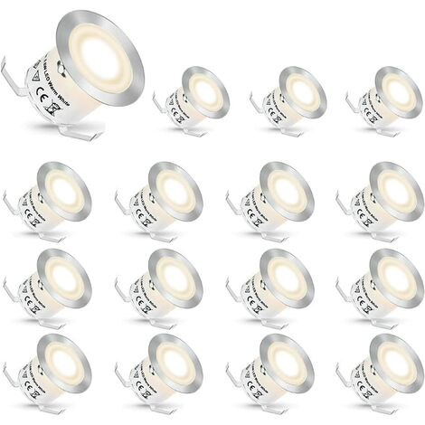 LangRay Foco empotrable LED, Focos empotrables LED Focos empotrables para exteriores Luces para escaleras Escaleras de jardín Luz de patio, IP67 Impermeable (Blanco natural, 16 piezas)