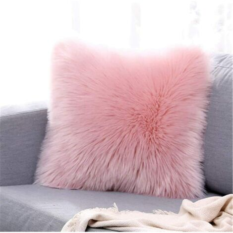 LangRay Funda de cojín, sofá decorativo de lujo de piel sintética para dormitorio, cama, funda de almohada de Mongolia de felpa súper suave, 45 x 45 cm (rosa)