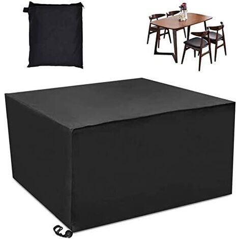LangRay - Funda para muebles de exterior, impermeable y a prueba de polvo, cubierta de lona para jardín, poliéster para exterior, para muebles de jardín, sala de estar y patio, negro