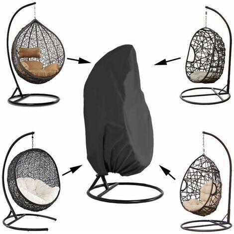 LangRay Funda para silla colgante de jardín de mimbre de ratán Funda impermeable para silla colgante Funda protectora para huevos Silla resistente al agua y al polvo - 190 X115cm, Negro