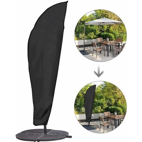 LangRay Funda protectora para parasol con pértiga y parasol offset Sombrilla grande de 2 a 4 m Protección contra las inclemencias del tiempo, los rayos UV y el viento Exterior para parasol offset 280 x 30/81/46 cm