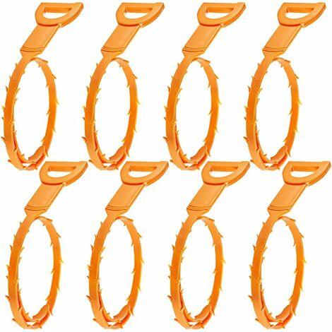 LangRay Furet Déboucheur, Lot de 8 Nettoyeur pour Drain pour Nettoyer des Cheveux - Orange
