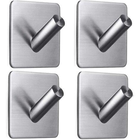 LangRay Gancho adhesivo de 4 piezas, gancho de pared de baño de acero inoxidable de 8 kg máx., Toallero con cinta, hogar y oficina, autoadhesivo - 1
