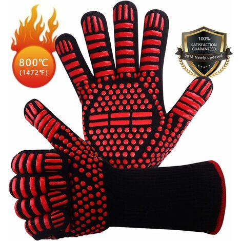 LangRay Guantes antideslizantes de silicona EN407 para barbacoa, horno, horno, guantes de cocina resistentes al calor, guantes de chimenea, guantes de chimenea, guantes de chimenea hasta 800 ° C - rojo