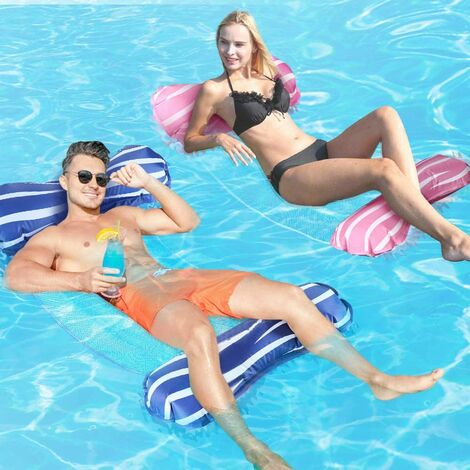 """main image of """"LangRay Inflatable Pool Hammock, 4 in 1 Buoy Inflatable Mattress Floating Bed Chair for Adults Jacuzzi Pool Beach Summer Fun, Pink & Blue"""""""