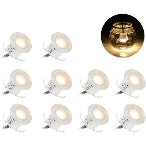 LangRay Kit de iluminación de cubierta LED empotrable / 10 piezas / Calefacción de baja presión 12V / Farola LED IP67 impermeable blanco natural φ22 mm adecuado para escalones, escaleras, patios, suelos, terrazas de piscinas, cocinas-blanco cálido