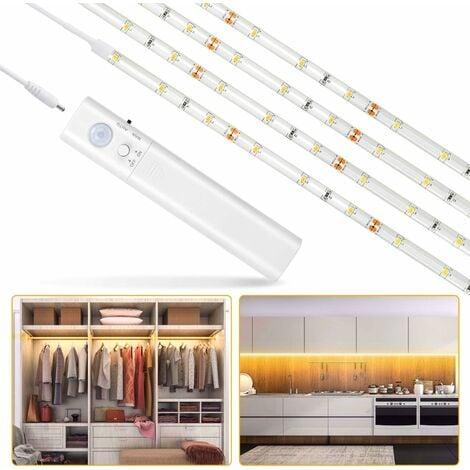 LangRay Lampe de Placard, 60LED 1M Veilleuse Bande Lumineuse Ruban,Lampe de capteur de mouvement pour placard/armoire/placard escalier/couloir/armoire,Alimentée par Batterie (100cm)