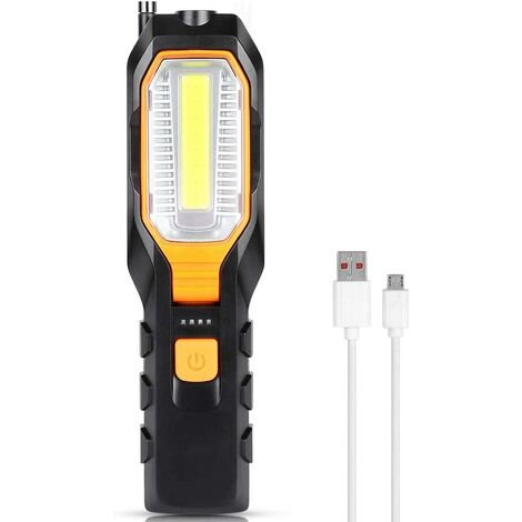 LangRay Lampe de Travail à LED, Lampe d'inspection COB Rechargeable avec Lampe de Travail 4 Modes Brillante, Lampe de Travail Portable avec Lampe de Poche USB et Lampe magnétique avec Aimant