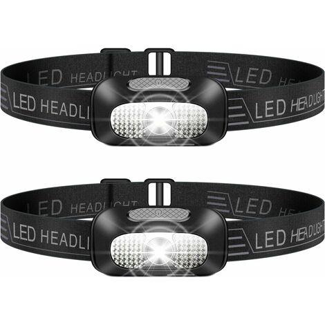 LangRay Lampe Frontale LED, 2 Pièces Léger Torche Frontale Rechargeable USB, Torches Frontales Étanche Puissante pour Camping, Escalade, Chasse, Pêche