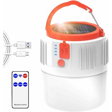 LangRay Linterna LED recargable para camping, lámpara portátil solar / USB con control remoto, impermeable IP45 2200 mAh, banco de energía, lámpara colgante para senderismo, emergencia para acampar al aire libre