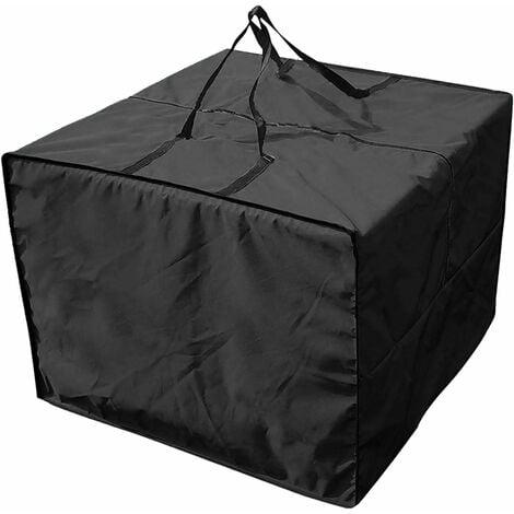 "main image of ""LangRay Living Room Cushion Storage Bag, Cushions Storage Bag Garden Protector Cover Garden Cushions Storage Bag 210D Oxford Waterproof, 81X81X61CM Black"""