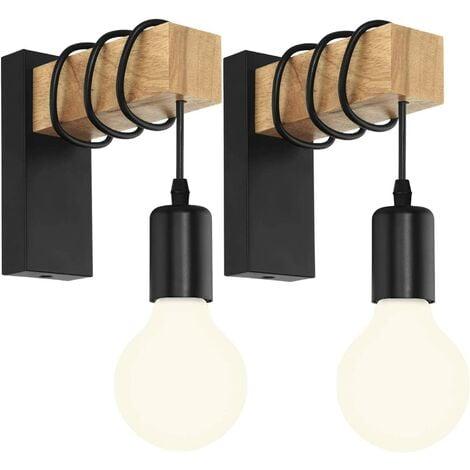 LangRay Lot de 2 Applique Murale Intérieur Vintage Industrielle Lampe Murale E27 Luminaire Abat-jour en Métal avec Support en Bois pour Salon Couloir Bar (Douille Noire)