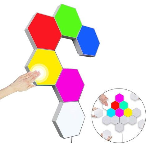 LangRay Lot de 6 appliques murales hexagonales multicolores Smart Touch Modulaires LED RVB Veilleuse DIY Géométrie Splitter Quantum pour chambre à coucher, salon, bar, fête, décoration festive
