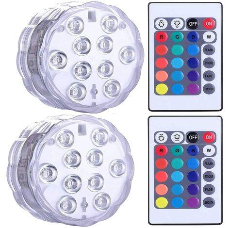 LangRay Luces LED sumergibles impermeables para jacuzzi, spa, estanque, luces LED subacuáticas con 2 controles remotos para bases de jarrones, acuarios, fiestas, Halloween y decoración del hogar