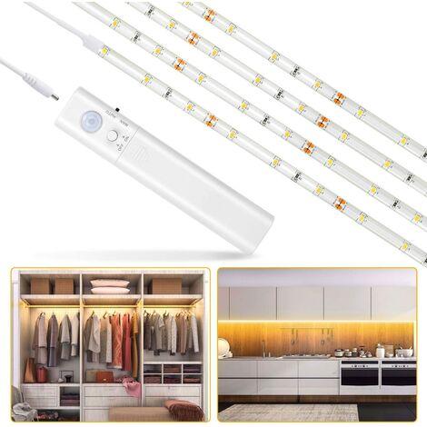 LangRay Luz de armario, cinta de luz nocturna de 60 LED 1 m, luz con sensor de movimiento para armario / armario / escalera de armario / pasillo / armario, funciona con pilas (100 cm)