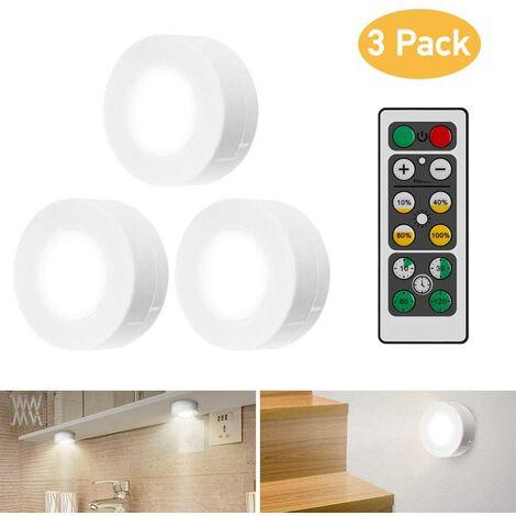 LangRay Luz LED para gabinete con control remoto, luz para gabinete, luz de gabinete de 3 piezas, luz de noche LED, luz de gabinete, luz LED para gabinete, para dormitorio, armario, armario, cocina, color blanco