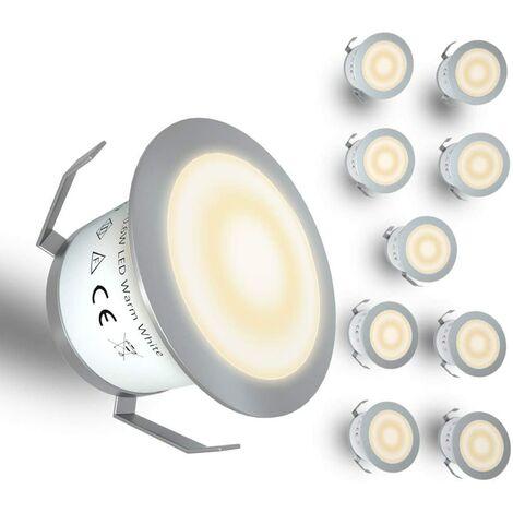 LangRay - Luz LED para terraza de bajo voltaje, kit de luz LED para terraza empotrada, luz enterrada para escaleras de patio, jardín al aire libre, decoración de suelo de madera, impermeable IP67, 12 V, blanco cálido (paquete de 10)