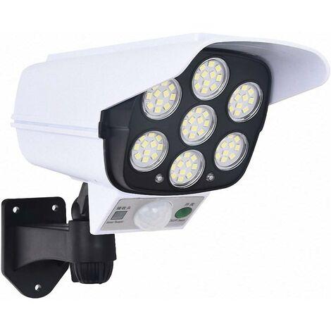 LangRay Luz solar con sensor de movimiento, cámara de seguridad simulada para exteriores, simulación falsa, vigilancia, LED, lámpara de inducción del cuerpo humano para pasillo de jardín