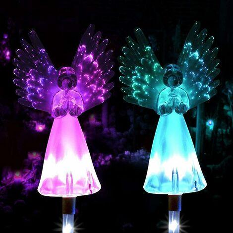 LangRay Luz solar de ángel, paquete de 2 luces de estaca de camino de ángel al aire libre, coloridas lámparas de alas iluminadas, adornos de jardín, iluminación decorativa (paquete de 2)