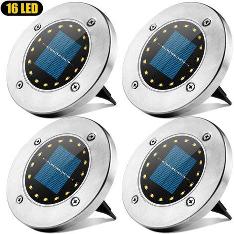 LangRay - Luz solar para exteriores, 16 LED, lámpara solar para jardín, impermeable, IP65, luz decorativa para césped, para camino, jardín, terraza, patio, césped, blanco, 4 piezas