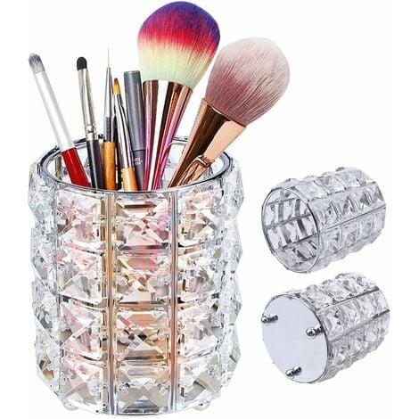 LangRay Maquillage Organisateur en Cristal, Rond rganisateur pinceaux maquillage pour pinceaux, pinceaux à Sourcils, Porte-Crayons organisateur de maquillage pour cosmétiques, Argenté