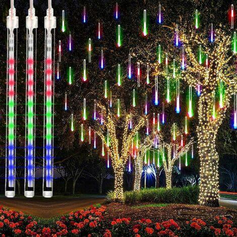 LangRay Meteor Guirlande lumineuse de pluie 8 tubes 30 cm 192 LED d'extérieur pour décoration de Noël Multicolore