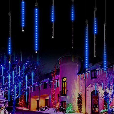 "main image of ""LangRay Meteor Shower Rain Lights, 50 cm, 8 tubes, waterproof, Snowfall Fairy Lights for outdoor / indoor / garden / wedding / party / Christmas decoration blue"""