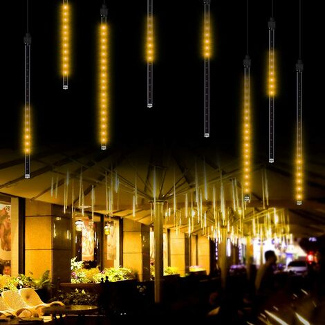 """main image of """"LangRay Meteor Shower Rain Lights, 50 cm, 8 Tubes, Waterproof, Snowfall Fairy Lights for Outdoor / Indoor / Garden / Wedding / Party / Christmas Decoration Warm White"""""""