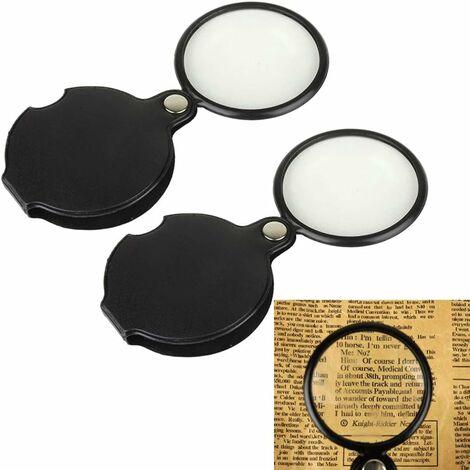 LangRay Mini pliable Cuir Loupe Magnifier Portable 5X Mini hd optique lentille en verre loupe pour vieil homme poche lecture outils avec une housse de protection Loupe en deux pièces, noir 50mm