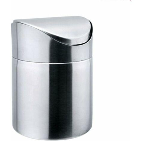 LangRay Mini poubelle de table en acier inoxydable avec couvercle basculant (argent)