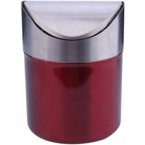 LangRay Mini poubelle de table en acier inoxydable avec couvercle basculant (rouge)