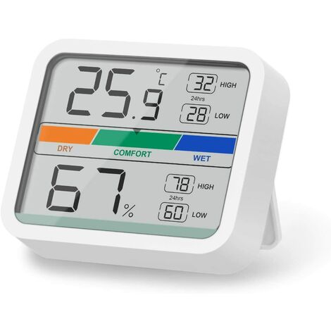 LangRay Mini termómetro para interiores Higrómetro digital Monitor de temperatura y humedad con conversión ℉ / ℃ de temperatura y humedad máxima y mínima (blanco)