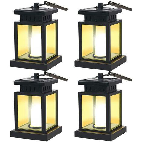 LangRay Mission Solar LED Lantern, vintage con energía solar, impermeable, colgante, linterna, velas, luces LED con abrazadera, sombrilla de playa, árbol, pabellón, jardín, césped, etc. Decoración e iluminación Set de 4