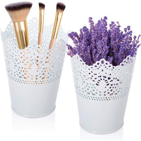 LangRay Organisateur de maquillage, organisateur cosmétique 2 pièces pour le stockage, porte-pinceau de maquillage, boîte de rangement décorative pour cosmétiques, organisateur cosmétique pour le stockage, tasse pour pinceaux de maquillage