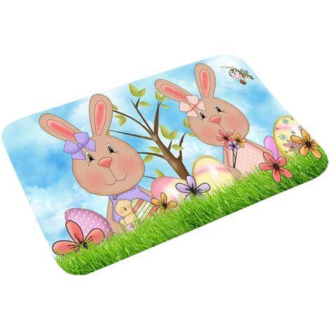 LangRay Pascua decoración del hogar, Pascua bienvenida alfombra felpudos alfombras de hogar alfombras de decoración alfombras de sala de estar