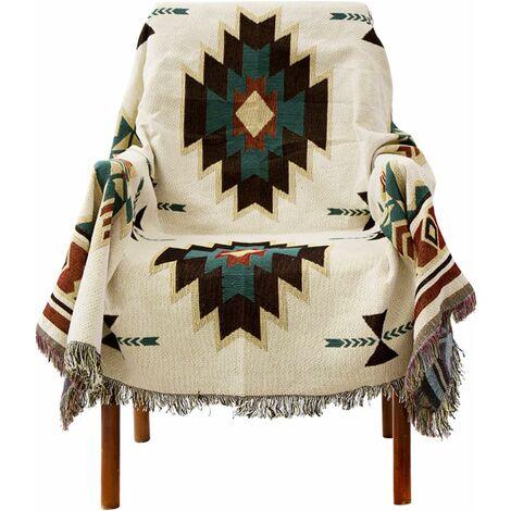 """main image of """"LangRay Plaid,Housse de canapé de style ethnique américain, couverture complète en tricot Sucre Jacquard couverture de canapé"""""""