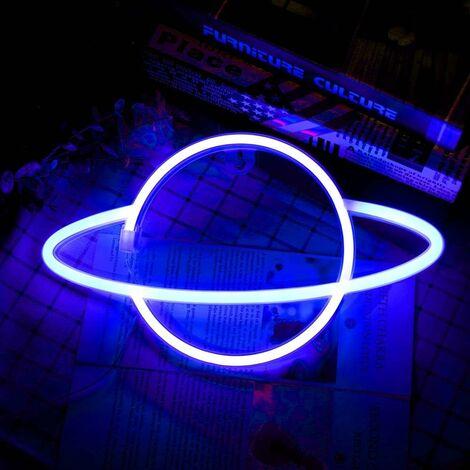 LangRay Planet Neon Light, Blue Pink Planet Neon Signs Light up Art Wall Decor Light-Waterproof LED Night Light - Lampe Planet à piles ou USB pour la fête danniversaire de Noël Chambre denfants