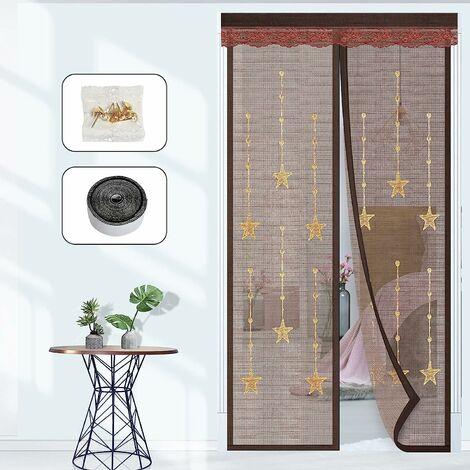 LangRay Porte de balcon moustiquaire, aimant de porte moustiquaire Rideau magnétique moustiquaire anti-insectes Rideau anti-moustiques, sans perçage, fixation adhésive Idéal pour porte de balcon, porte de cave et porte-fenêtre 90x220cm