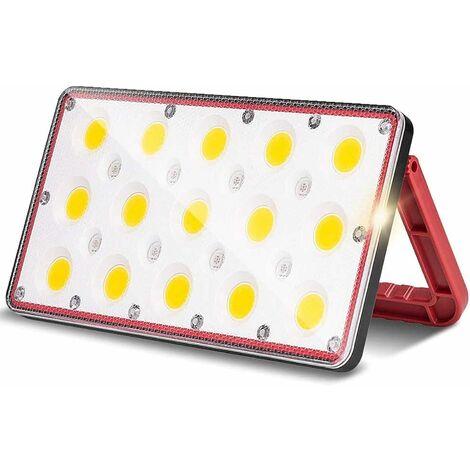 LangRay Projecteur LED Rechargeable Projecteur Chantier 24W 1000LM 5 Modes de Réglables Lampe de Travail avec Rotation à 180° Lampe LED Extérieur pour Jardin, Cour, Garage, Entrée