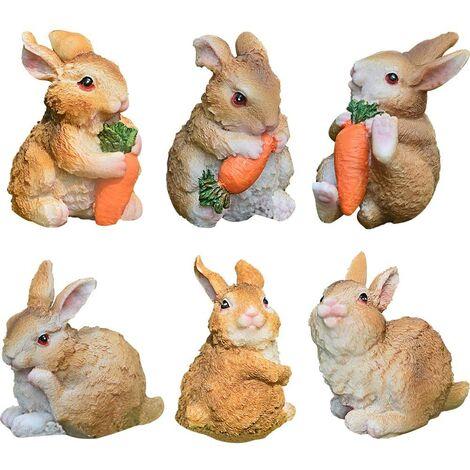 LangRay Resin Bunny Figurine Bunny Garden Ornaments Chic Bunnies Decorazione pasquale, Resina Easter Bunny Rabbit Decorazioni per la tavola Ornamenti per la primavera o la casa
