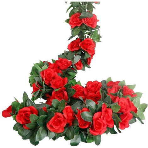 """main image of """"LangRay Rose Garland, Artificial Rose Tendrils, 4 Pieces, Artificial Silk, Flower Garlands for Home, Office, Arch and Garden Decor Red"""""""
